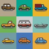 Collection of cars and trucks illustration Royalty Free Stock Image