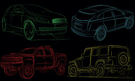 Collection of cars with vector paths. Collection of cars with green, blue, yellow, red vector paths. Car isolated on black backgroun Royalty Free Stock Photography