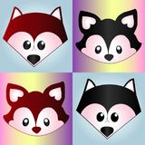 Collection of cartoon animal sketches on gradient. Beautiful collection of soap cartoon sketches of forest animals: funny raccoon and funny fox Royalty Free Stock Photo