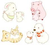Collection of cartoon animals in kawaii style Stock Photos