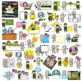 Collection of Cartoon Army Man - Different Concepts Vector illustrations