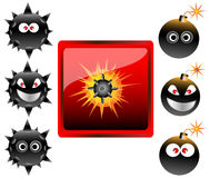 Collection of cartoon bomb emoticons  Stock Photo