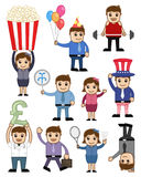 Collection of Cartoon Business and Holiday People Royalty Free Stock Images
