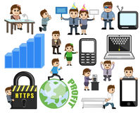 Collection of Cartoon Business Technology Concepts Royalty Free Stock Image
