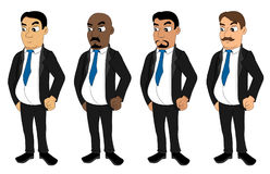 Collection of cartoon businessmen stock illustration