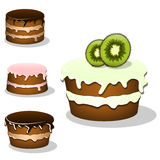 Collection of the cartoon cakes Royalty Free Stock Photography