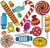 Collection of Cartoon Candy. Contour Illustration Stock Photo