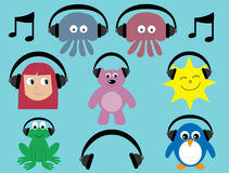 Collection Of Cartoon Characters With Headphones Stock Photography