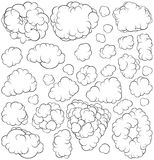 Collection of cartoon clouds Stock Images