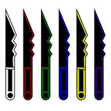 Collection of cartoon daggers. Set of decoration weapon for computer game design. Fantasy knifes. Vector illustration. royalty free illustration