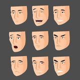 Collection of cartoon emotion faces Stock Photos