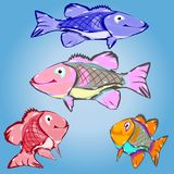 Collection of cartoon fish, character on a light blue background. Vector Stock Image