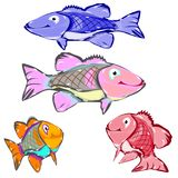 Collection of cartoon fish, character on white background,. Vector Royalty Free Stock Photos