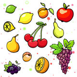 Collection of cartoon fruits and Royalty Free Stock Image
