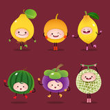 Collection of cartoon fruits Royalty Free Stock Images