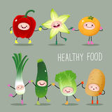 Collection of cartoon fruits and vegetables vector illustration