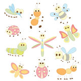 Collection of cartoon insects Stock Photo