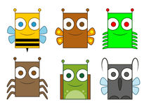 Collection of 6 cartoon insects Royalty Free Stock Photo