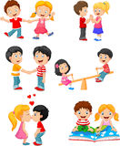 Collection of cartoon kids couple Stock Photography