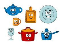 Collection of cartoon kitchenware Royalty Free Stock Images