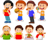 Collection of cartoon little boy eating fast food. Illustration of Collection of cartoon little boy eating fast food Stock Photography