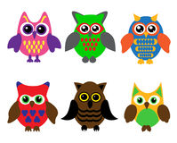Collection of cartoon owls Royalty Free Stock Image