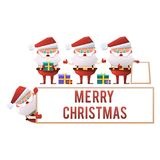 A collection of cartoon Santa Clauses on a white background. Vector holiday set on Merry Christmas and New Year. royalty free stock photos
