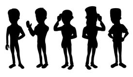 Collection of cartoon silhouettes of formal men royalty free illustration