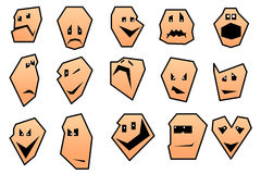 Collection of cartoon smiley faces. Royalty Free Stock Images