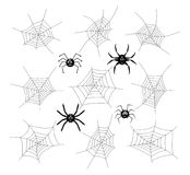 Collection of cartoon spiders and webs. vector. Collection of cartoon spiders and webs isolated on white background. spider phobia symbols. vector Royalty Free Stock Image