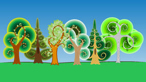 Collection of Cartoon Tree in Vector Royalty Free Stock Photography