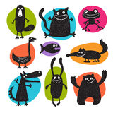 Collection of cartoon vector animals silhouettes Royalty Free Stock Photography