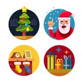 Collection of cartoon vector christmas icons. Collection of cartoon colour vector christmas icons Stock Photography