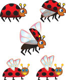 Collection Of Cartoon Vector Ladybugs Royalty Free Stock Photo