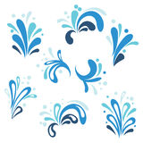 Collection of cartoon water splashes Royalty Free Stock Images