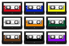 Collection of cassette tape illustrations Stock Photography
