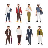 Collection of caucasian bearded men dressed in casual and formal clothes and standing in various poses. Male cartoon. Characters isolated on white background Stock Photos