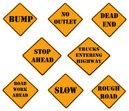 Collection of caution signs Royalty Free Stock Images