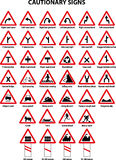 Cautionary traffic signs. A collection of cautionary traffic signs Royalty Free Stock Images