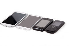 Collection of cell phones Stock Images
