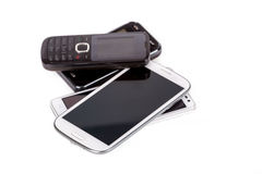 Collection of cell phones Royalty Free Stock Photo