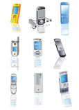 Collection of cellphones Royalty Free Stock Photos