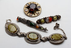 Collection of celtic style costume jewellery stock photo
