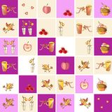 Collection of ceramic kitchen tiles with cups, flowers, birds, cakes, hearts, fruits and berries. Stock Photography