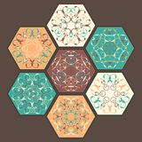 Collection of ceramic tiles. Abstract patterns in bright colors vector illustration