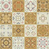 A collection of ceramic tiles in retro colors. Royalty Free Stock Photo