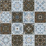 A collection of ceramic tiles in retro colors. Royalty Free Stock Images