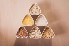 Collection of cereals, grains: rice, oats, buckwheat, millet, Stock Photos