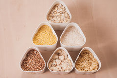 Collection of cereals, grains: rice, oats, buckwheat, millet, Royalty Free Stock Photography