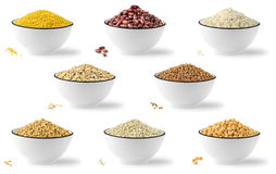 Collection of cereals and legumes. In bowls over white background royalty free stock image